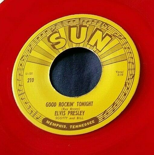 Elvis Presley - Good Rockin' Tonight/I Don't Care... 45 Sun 210 RE red vinyl