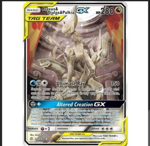 POKEMON TCG CARD Full Art Ultra Rare Arceus /& Dialga /& Palkia GX 220//236