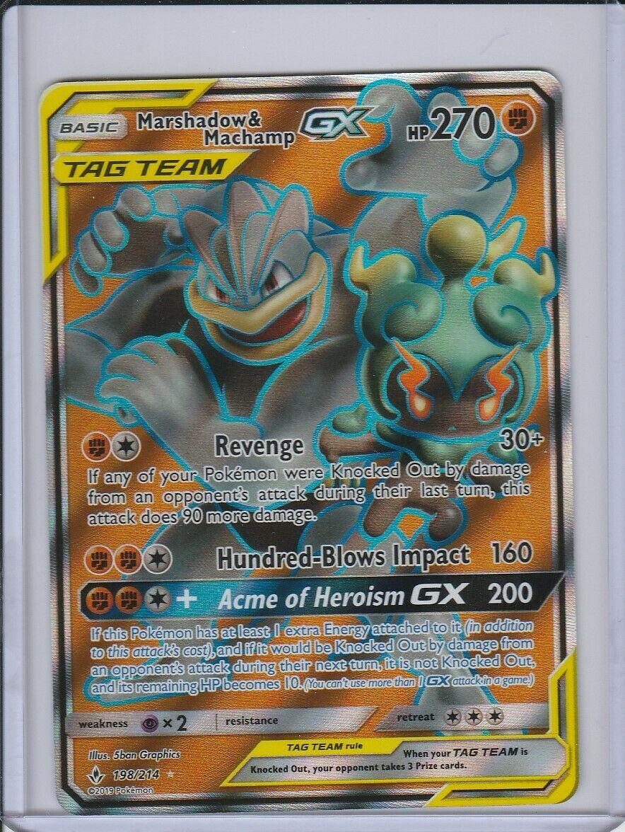 NM FULL ART Pokemon MACHAMP /& MARSHADOW GX Card UNBROKEN BONDS Set 198//214 Tag