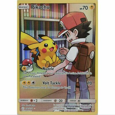 Pikachu 241//236 Secret Rare Pokemon Cosmic Eclipse Card # 241 Ash Art M//NM