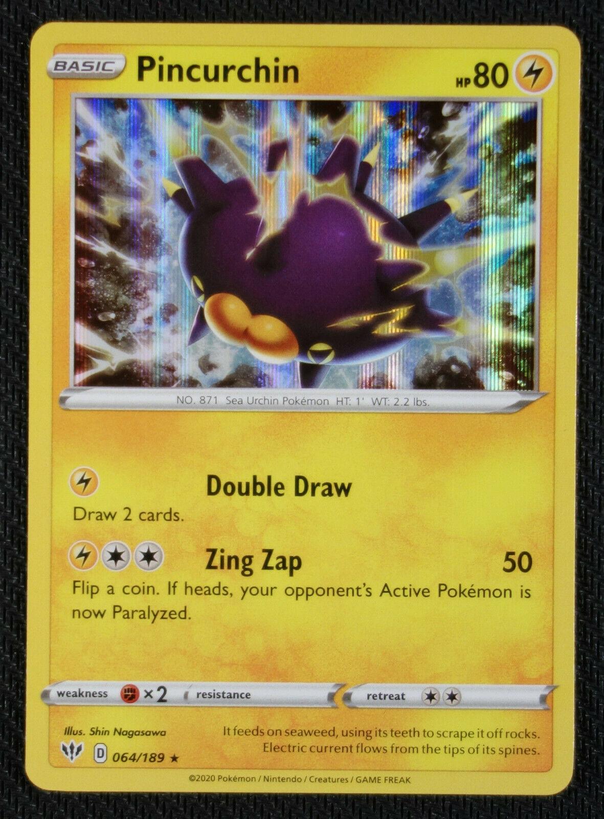64//189 Pincurchin Holo Rare Darkness Ablaze Pokemon Card Near Mint//Mint