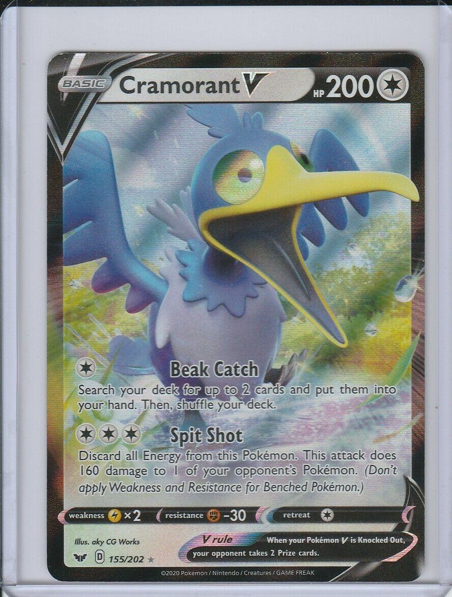 SWSH01-155 Cramorant V Ultra Rare Foil Pokemon Sword /& Shield Card # 155