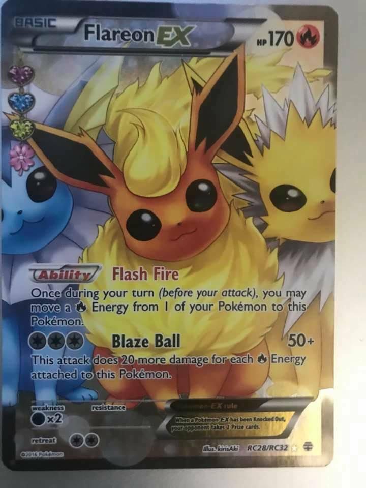FLAREON EX RC28//RC32 Generations Pokemon card FULL ART  FA NM-M non gold star