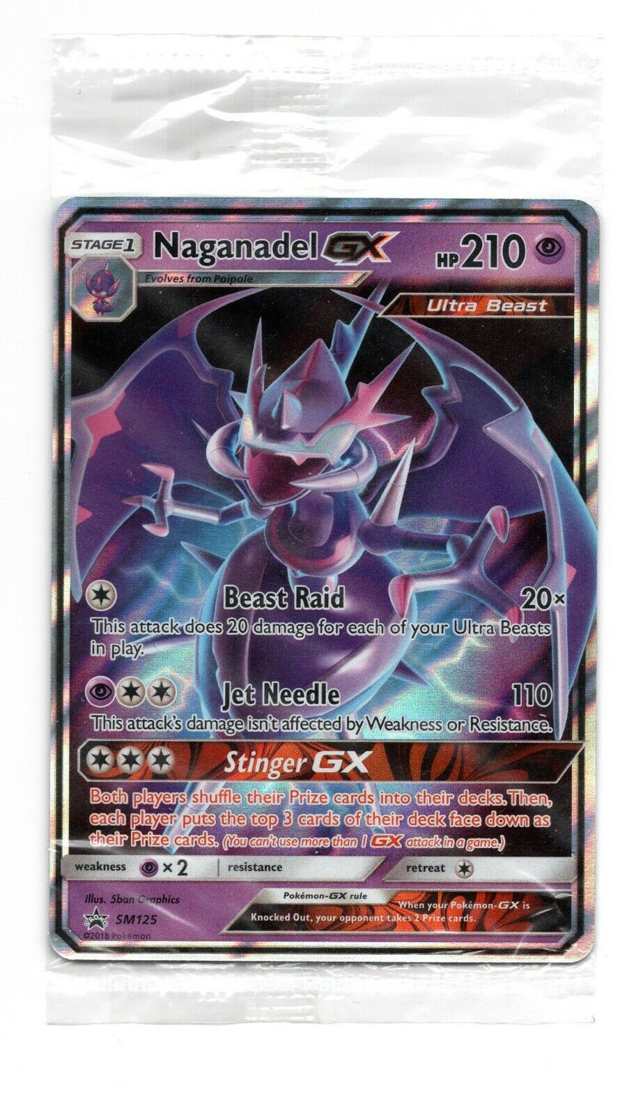 Half-Art Holo Rare Pokemon Card Naganadel GX Black Star Promo SM125